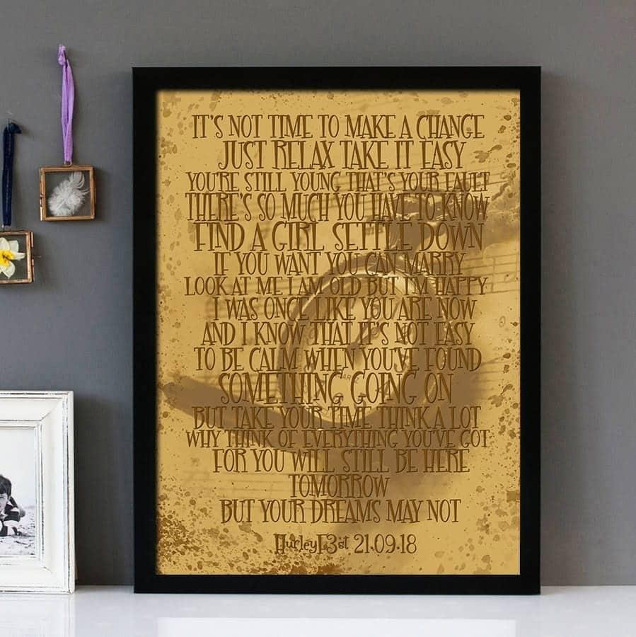 Father Son Cat Stevens Framed Lyrics Wall Art Copy