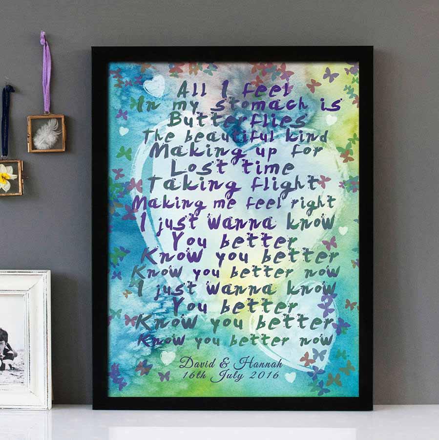 Everything Has Changed Taylor Swift Ed Sheeran Framed Lyrics Wall Art Design