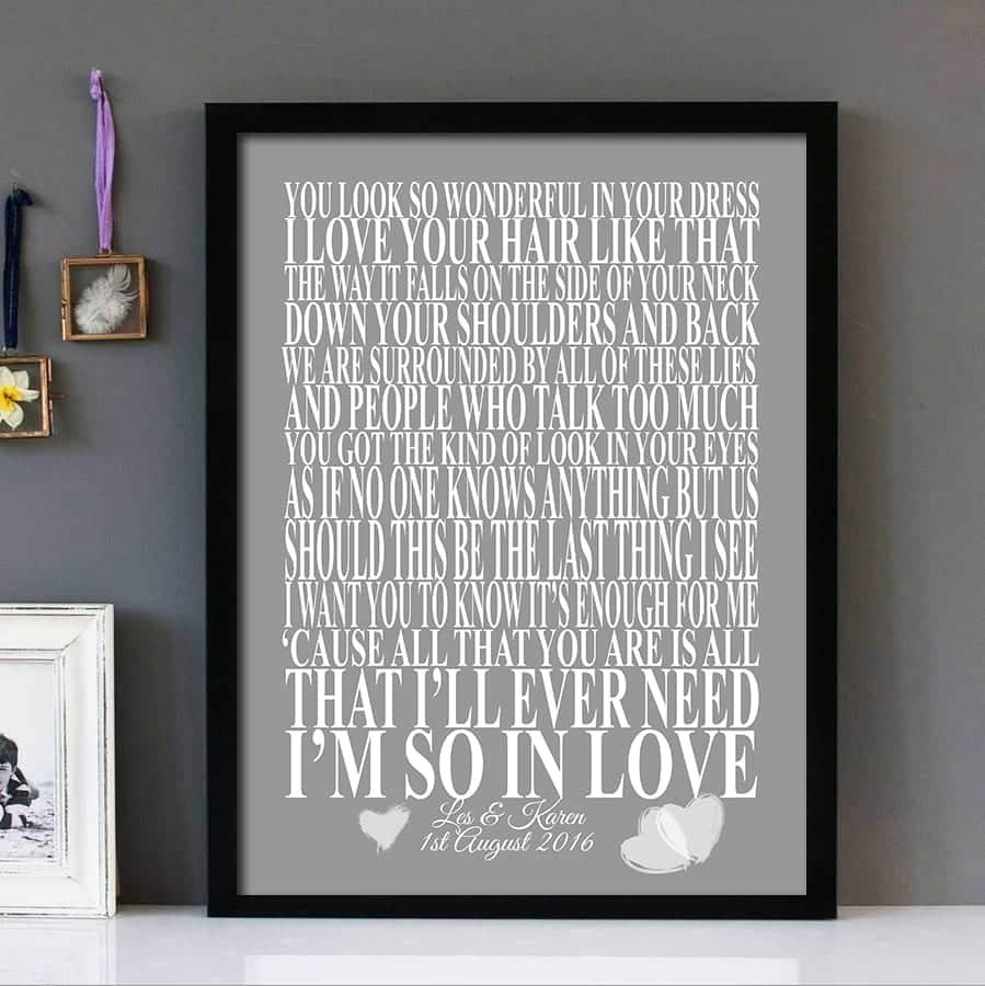 Personalised Song Lyrics Print Framed romantic gift Tenerife Sea Ed Sheeran