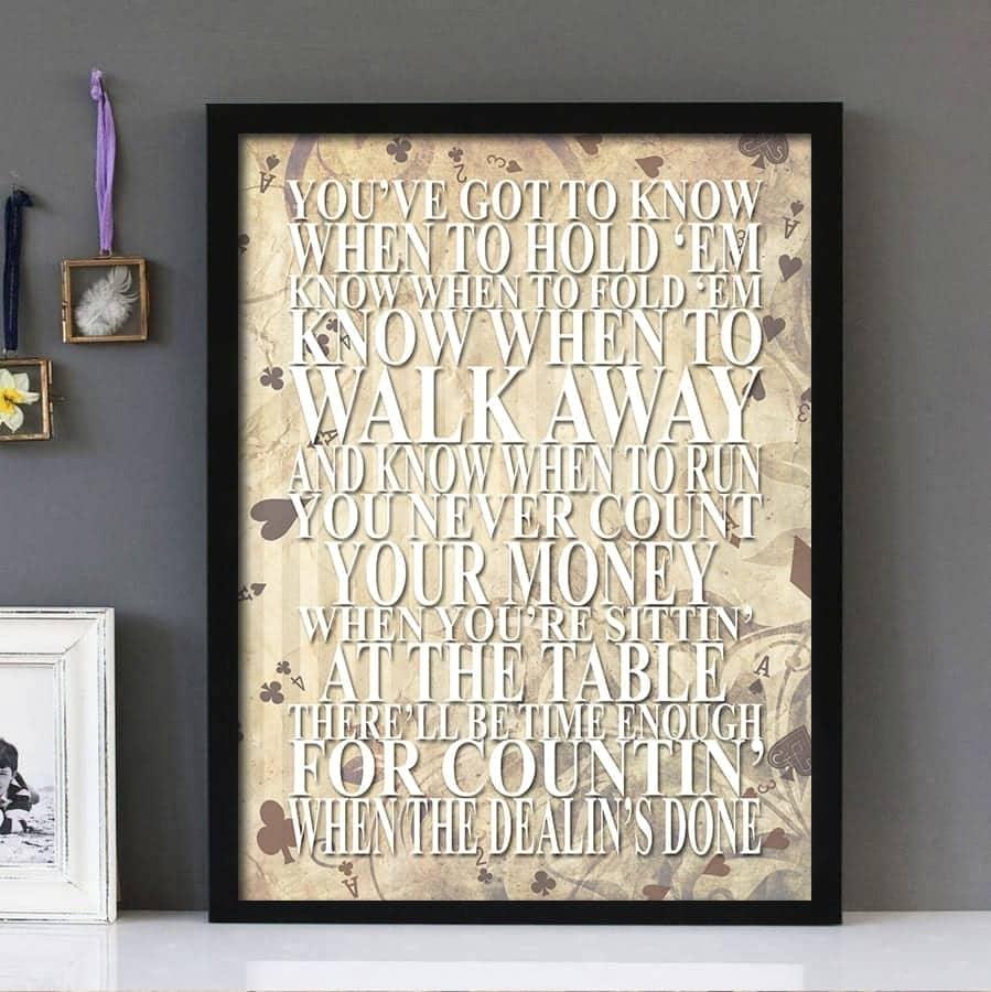 """The Gambler""- Kenny Rogers - Framed Lyrics Wall Art ..."