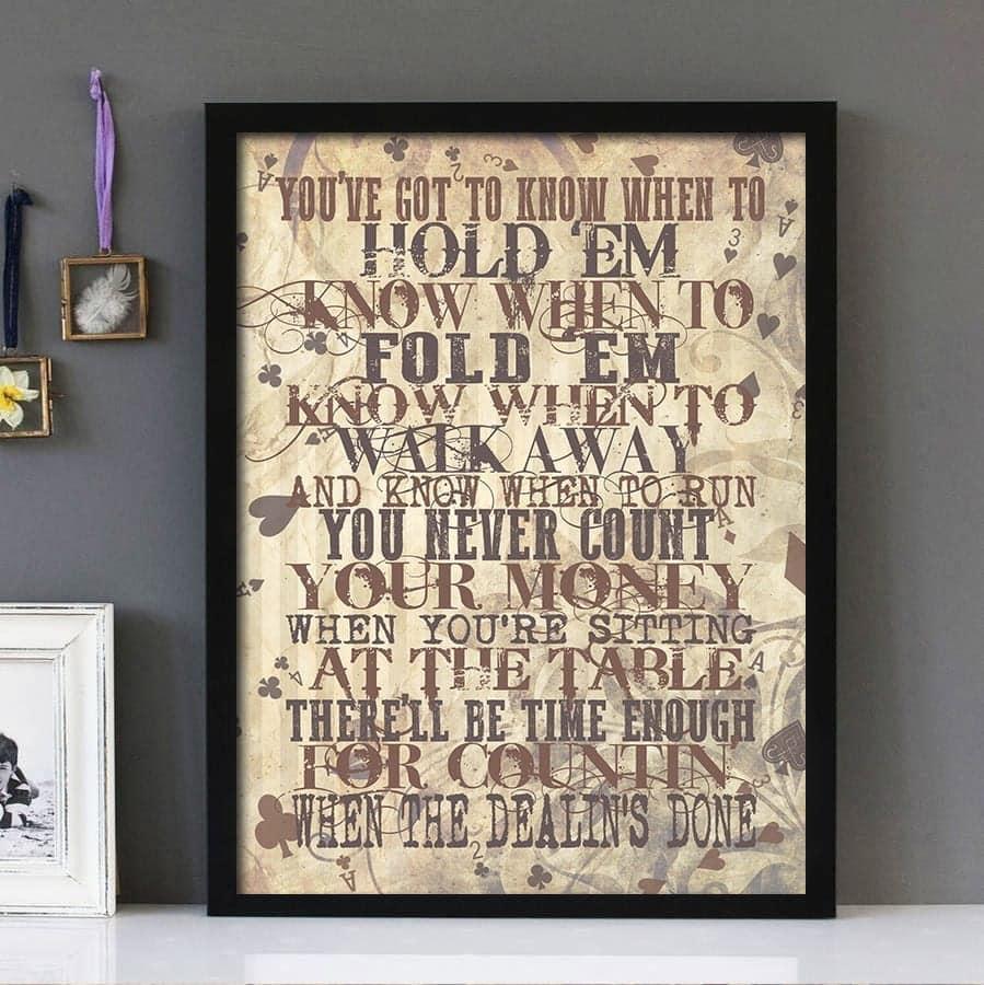 """The Gambler""- Kenny Rogers - Framed Lyrics Wall Art Design"