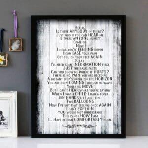 Dark Side Of The Moon Pink Floyd Framed Lyrics Wall Art